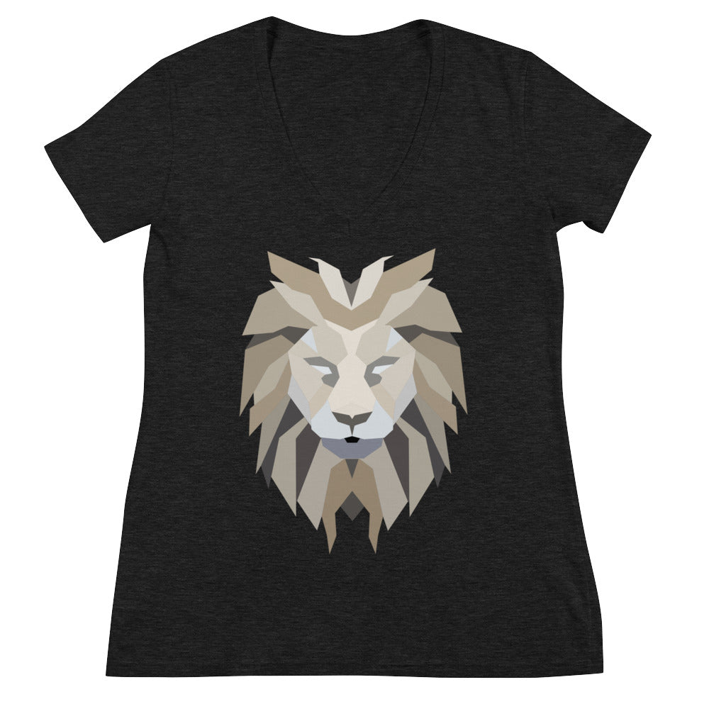 Women's Lion White Fashion Deep V-neck Tee Shirt
