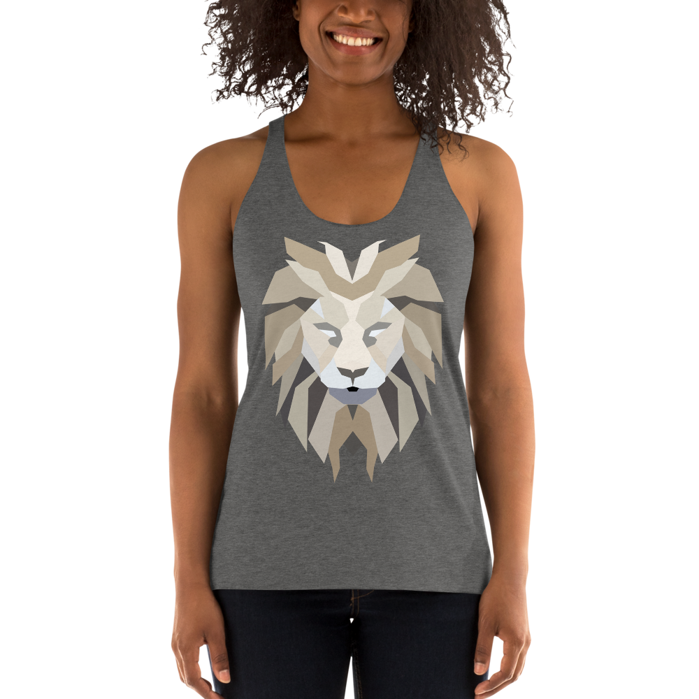 Women's Lion White Racerback Tank