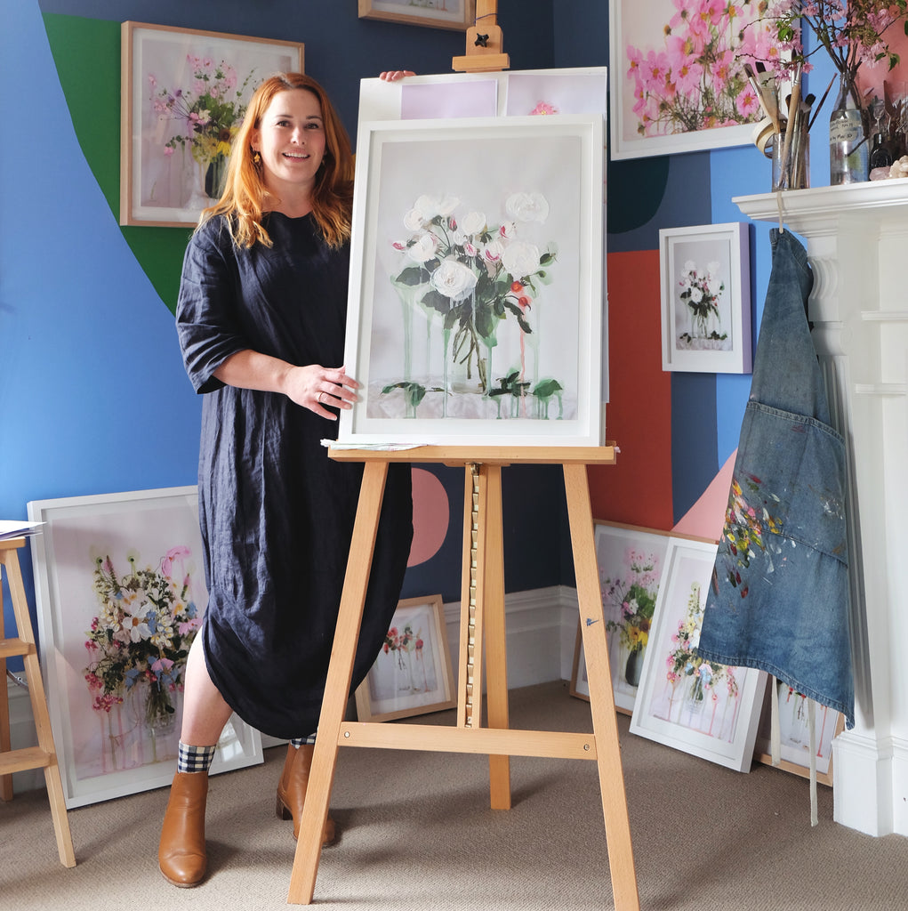 Julia Atkinson-Dunn and artworks at home in Christchurch, New Zealand