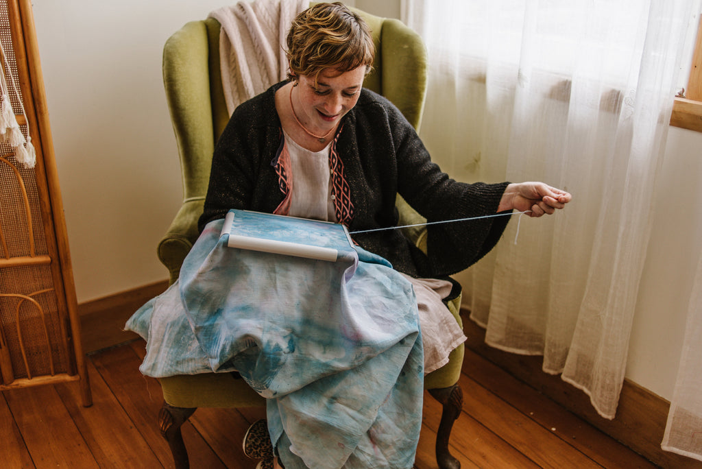 Fleur Woods at work in her New Zealand home. Photograph by Rachel Brown
