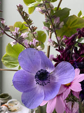 "Load image into Gallery viewer, ""Blue Anemone, Cosmos & Daisies"" by Sam Michelle"