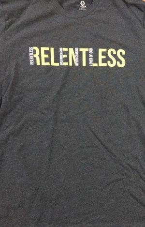 Relentless Grey T-shirt - Yellow/White Text
