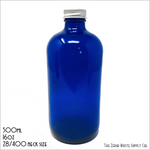 Blue Boston Bottle With Silver Cap