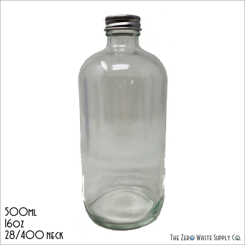 Clear Boston Bottle With Silver Cap