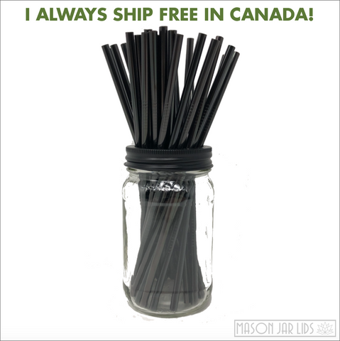 Set Of Four - Black Stainless Steel Straws