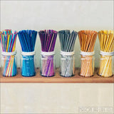 Set Of Four - Blue Stainless Steel Straws