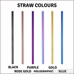 Two Smoothie Straws - Rose Gold Stainless Steel Straws