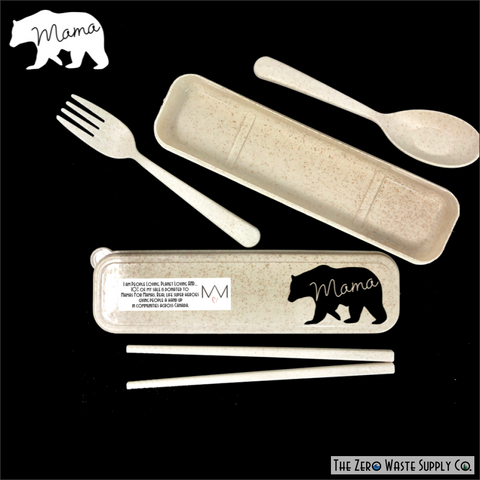 Wheat Straw Cutlery Kit - Bear Family Version Bear Family