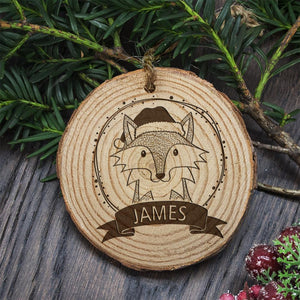 Decoration Wood FOX- with your name on