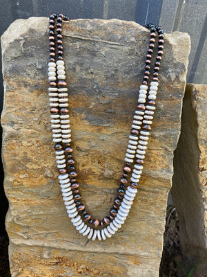 Cream & Copper Navajo Necklace
