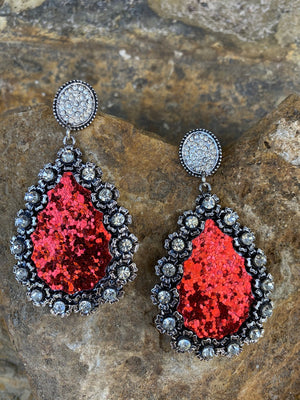 Set To Shine Earrings-Red Glitter