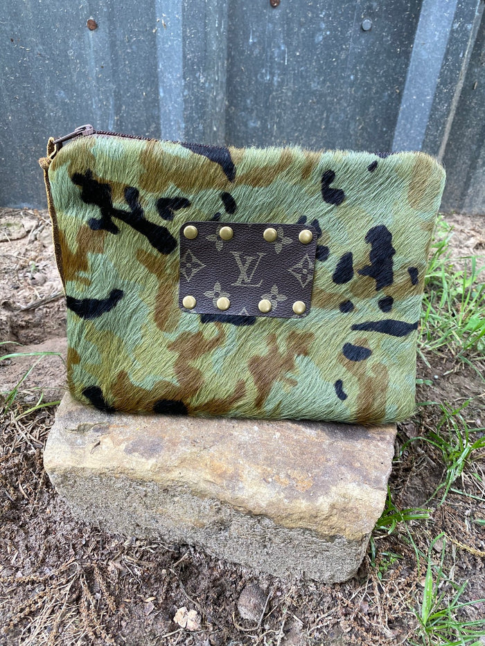 Revamped Camo Cowhide Clutch