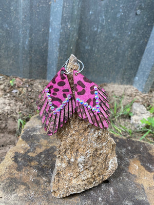 Just Fringin' Earrings- Pink Cheetah