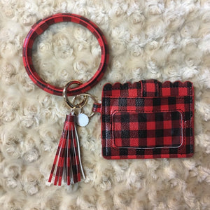 Red and Black Plaid Wallet Wristlet