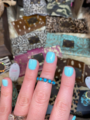 Six Stone Turquoise Stacker Ring