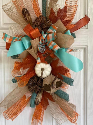 Turquoise & Orange Plaid Wreath
