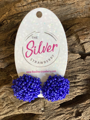 Pom Pom Stud Earrings- Royal Blue