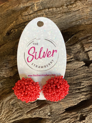 Pom Pom Stud Earrings- Red