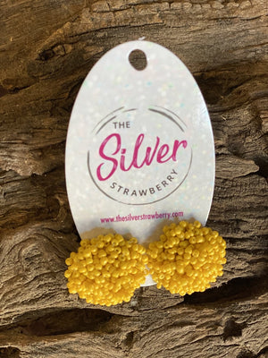 Pom Pom Stud Earrings- Yellow