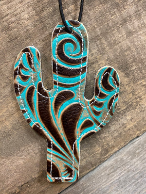 Tooled Turquoise Cactus Tag