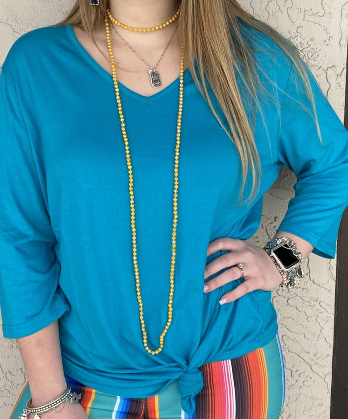 Turquoise 3/4 Sleeve V-Neck Top