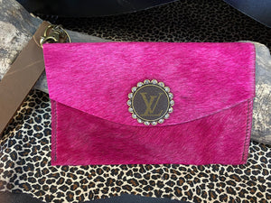 Revamped Large Pink Cowhide Wallet Wristlet