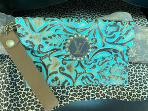 Revamped Large Tooled Turquoise Wallet Wristlet