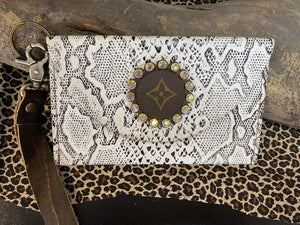 Revamped Small Snakeskin Wallet Wristlet