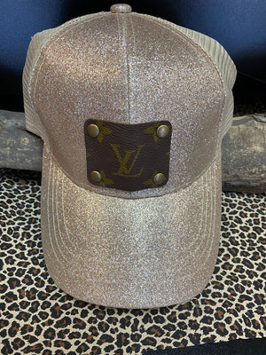 Revamped Tan Glitter Hat