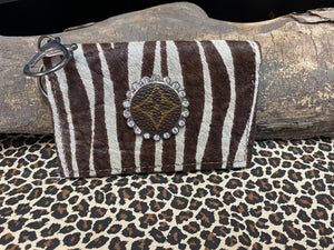Revamped Brown Zebra Card Holder Keychain