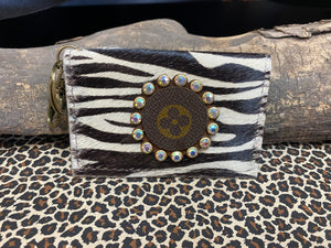 Revamped Black Zebra Card Holder Keychain