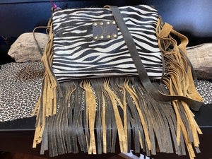 Revamped Zebra Fringe Purse
