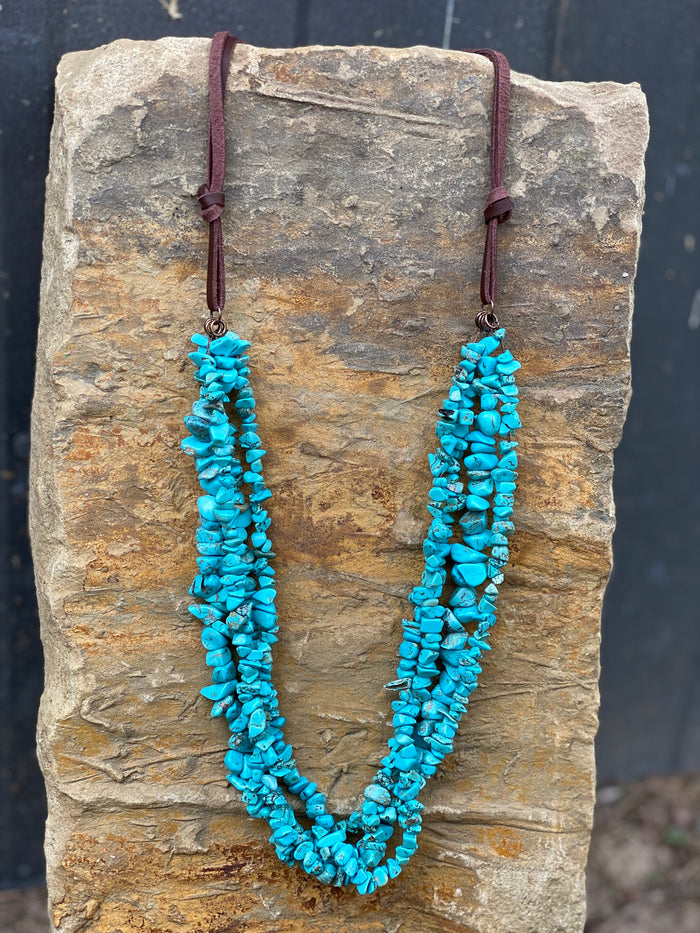 Triple Turquoise Stone Necklace