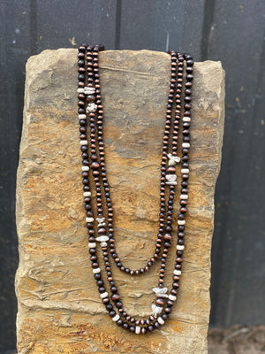 Brown & Cream Rock Navajo Necklace