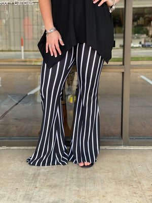 Black & White Striped Bell Pants