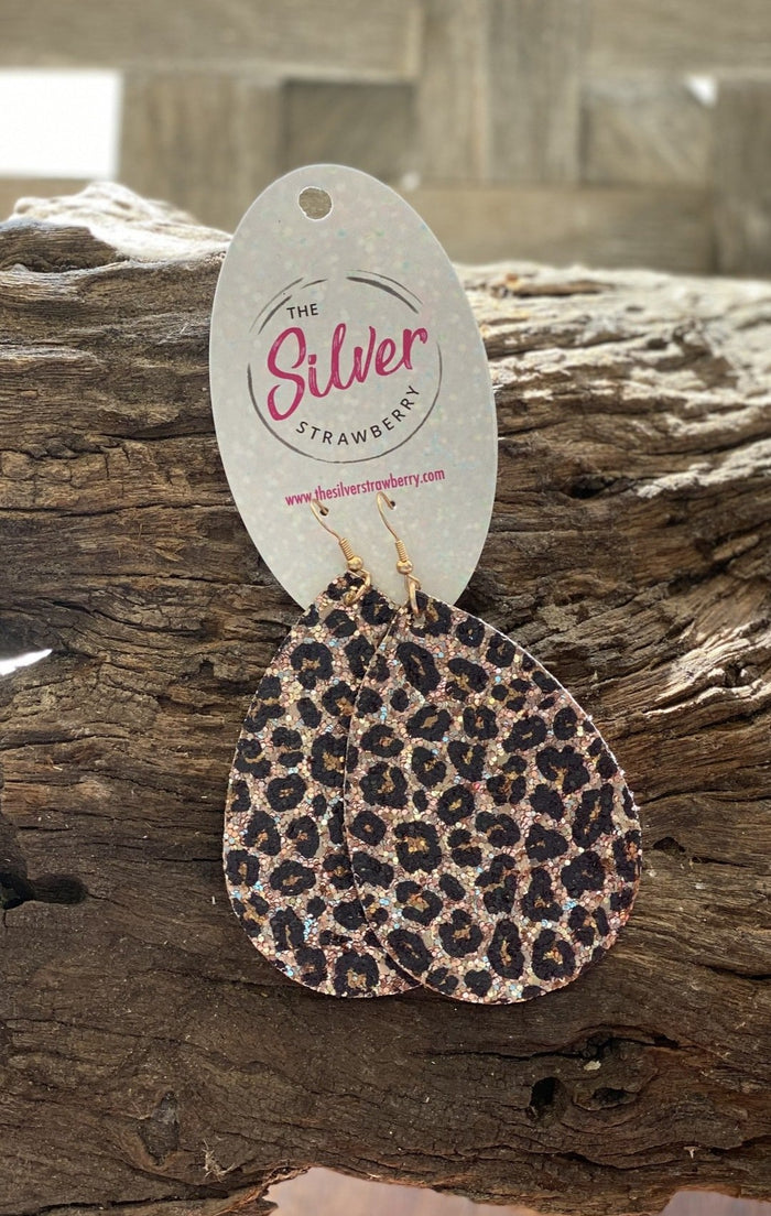 Glamorous Earrings- Brown Cheetah