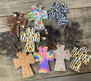 Cross Shaped Leather Air Freshener Tags