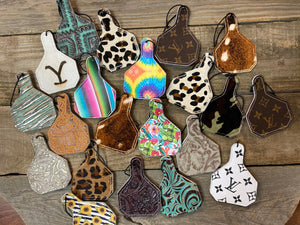 Eartag Shaped Leather Air Freshener Tags