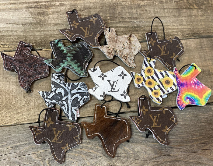 Texas Shaped Leather Air Freshener Tags