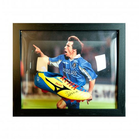 Chelsea FC Zola Signed Boot (Framed) - footballextreme.shop