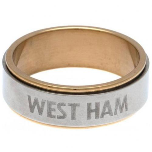 West Ham United FC Bi Colour Spinner Ring Small - footballextreme.shop