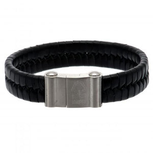 Nottingham Forest FC Single Plait Leather Bracelet - footballextreme.shop
