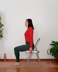 mountain pose on chair