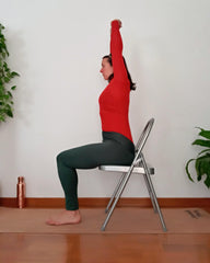 Urdhva Hastasana on yoga chair