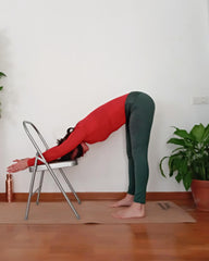 ardha uttanasana on yoga chair