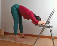 restorative yoga chair forward bend
