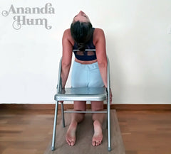 camel pose with yoga chair