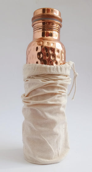 copper water bottle with cotton bag