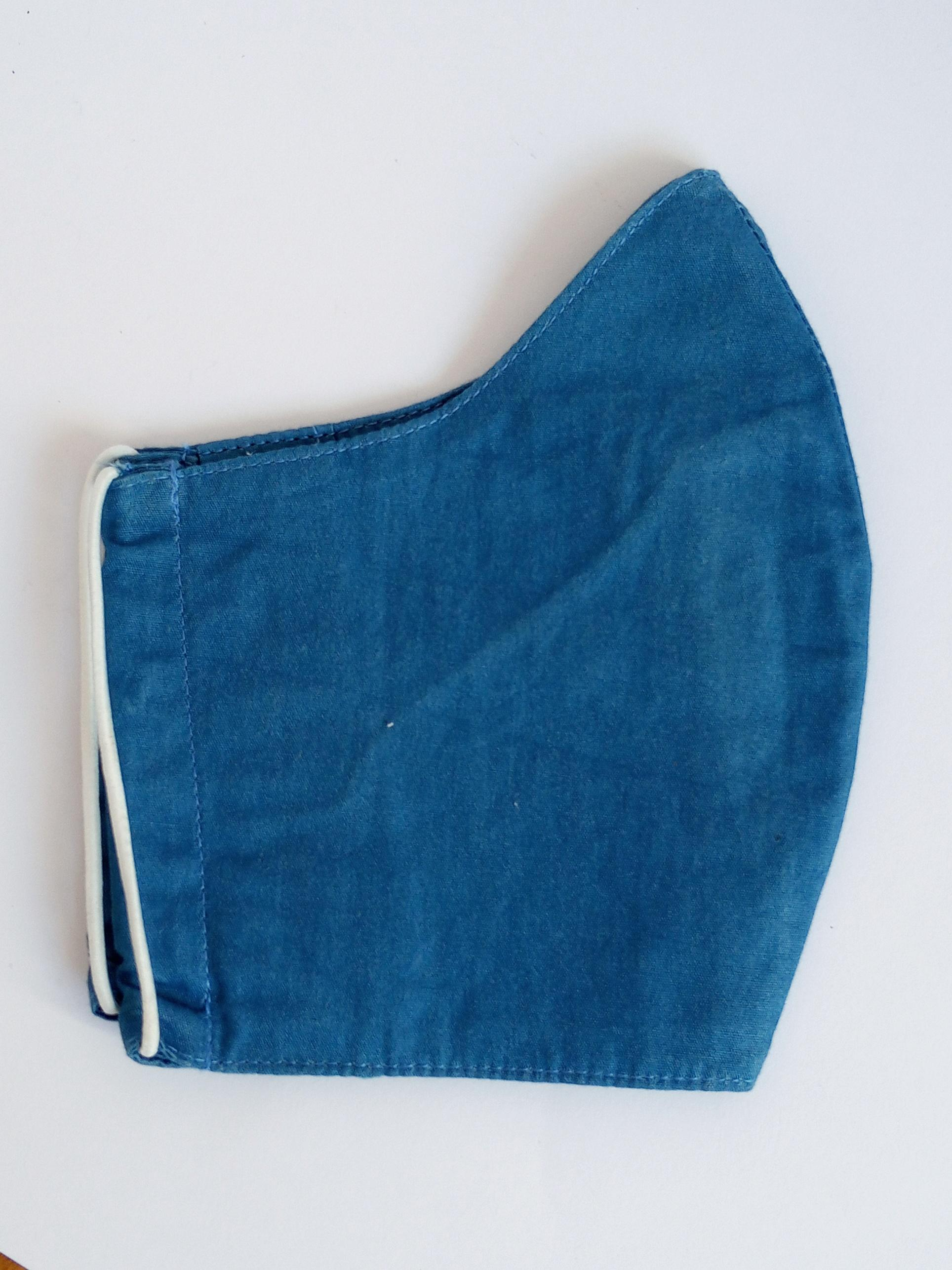 organic cloth face mask blue