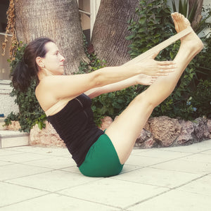 navasana with yoga strap